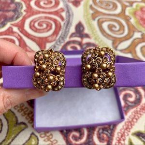Vintage Carolee Gold & Crystal Clip Earrings